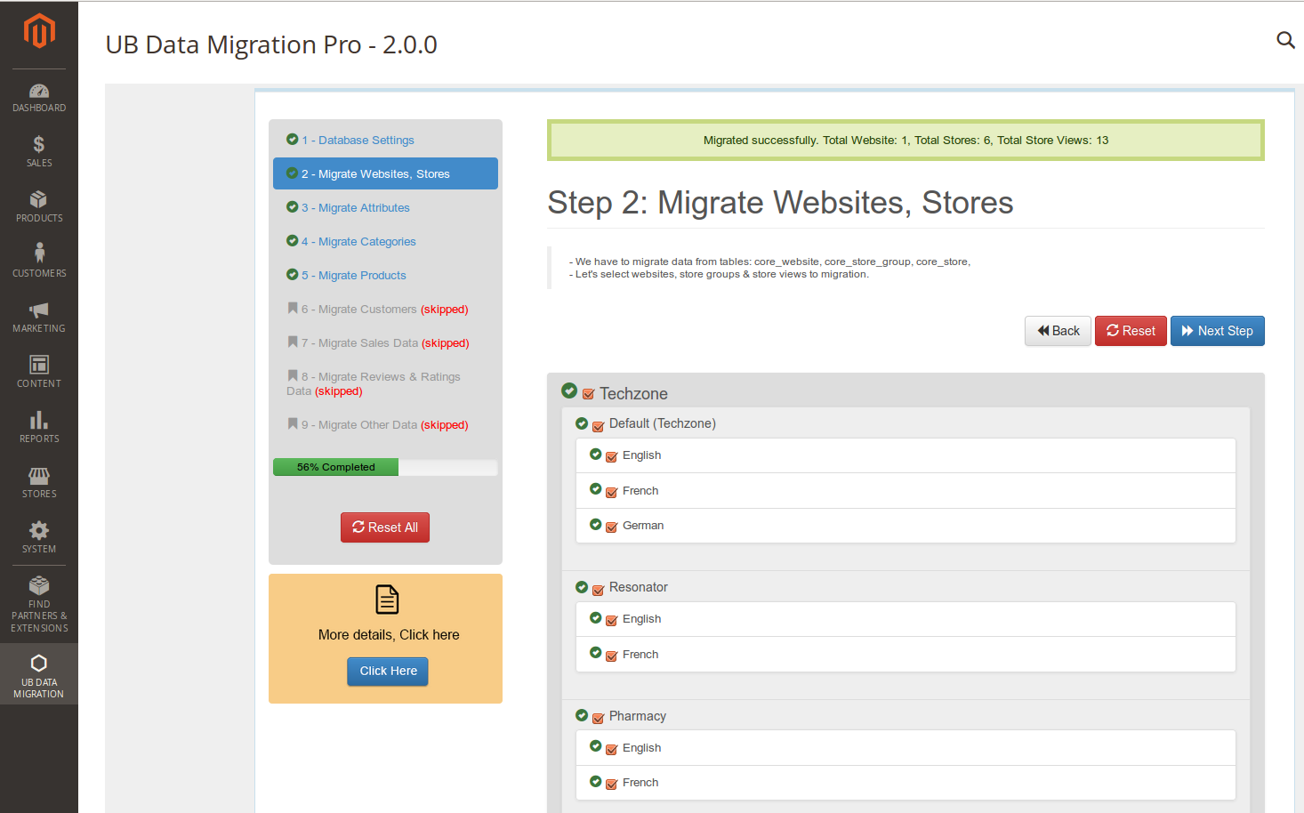 Step 2- Migrate Websites Stores