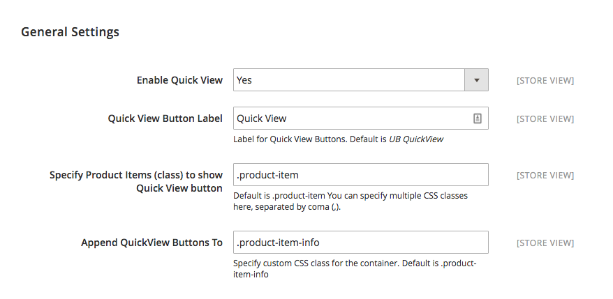 Magento 2 Quick View - Settings