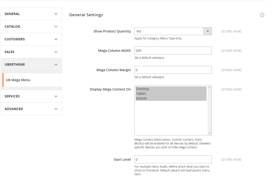 Magento 2 Mega Menu - setting mega menu