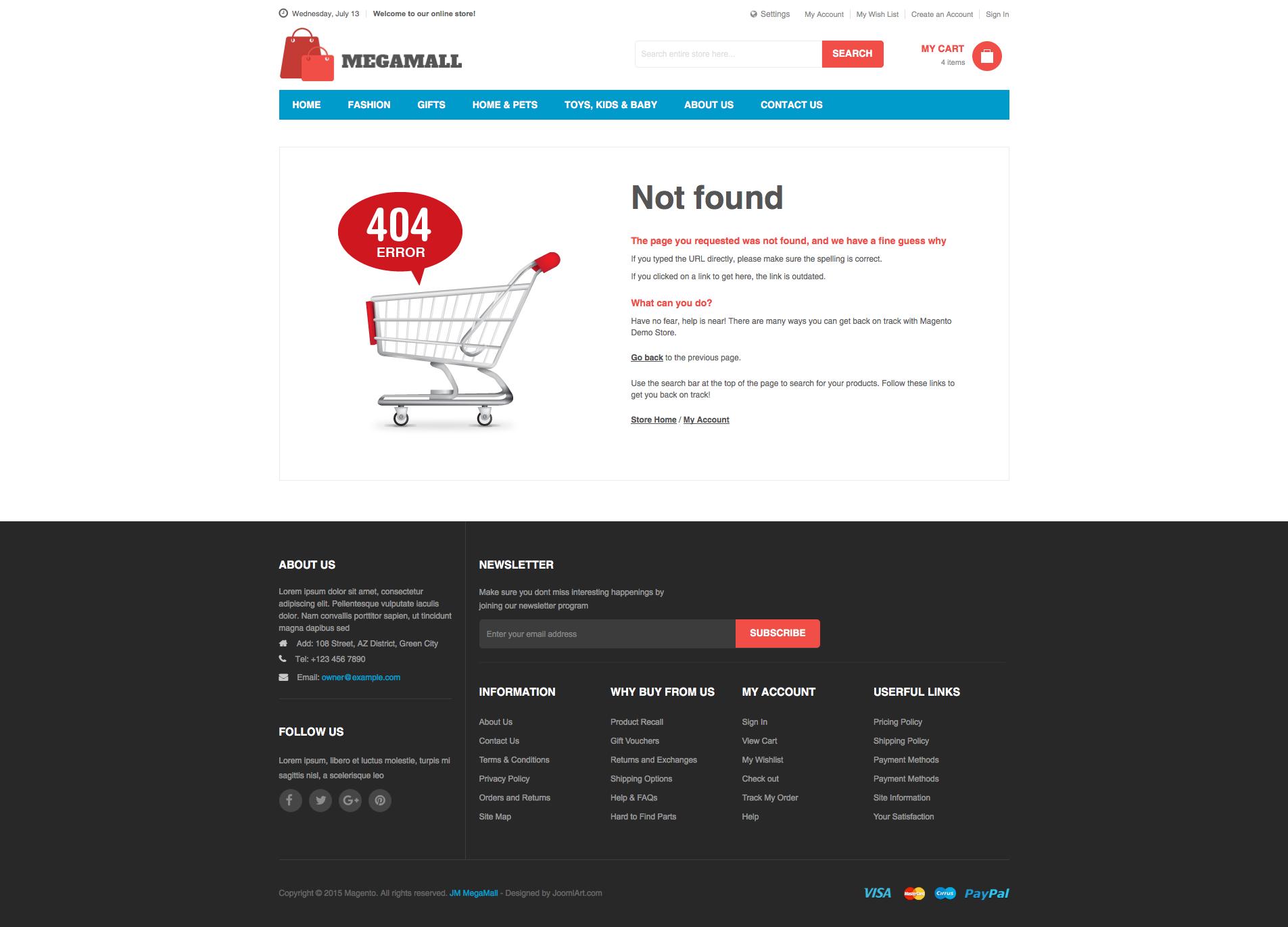 Magento 2 theme - UB MegaMall 404 page