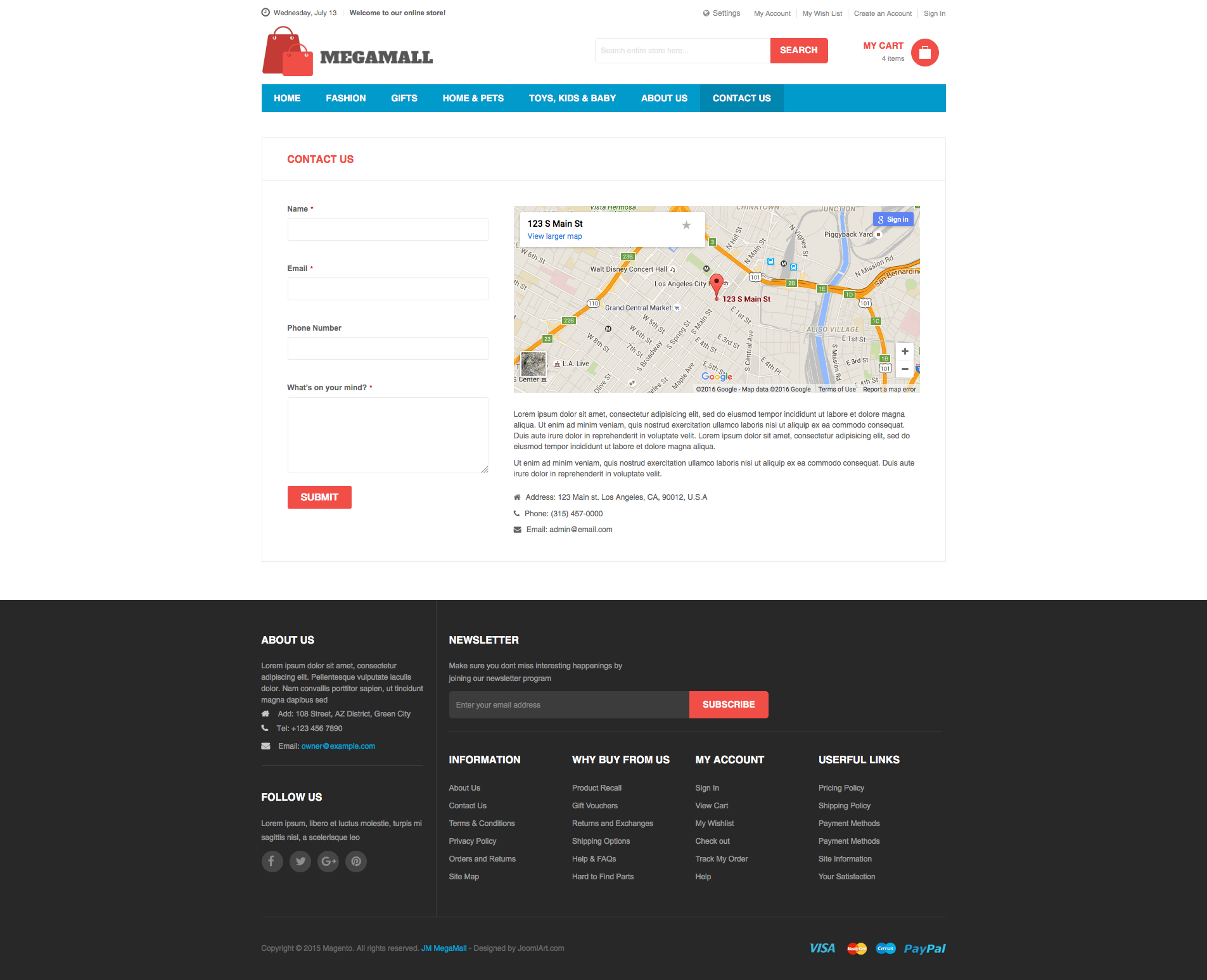 Magento 2 theme - UB MegaMall Contact Us page