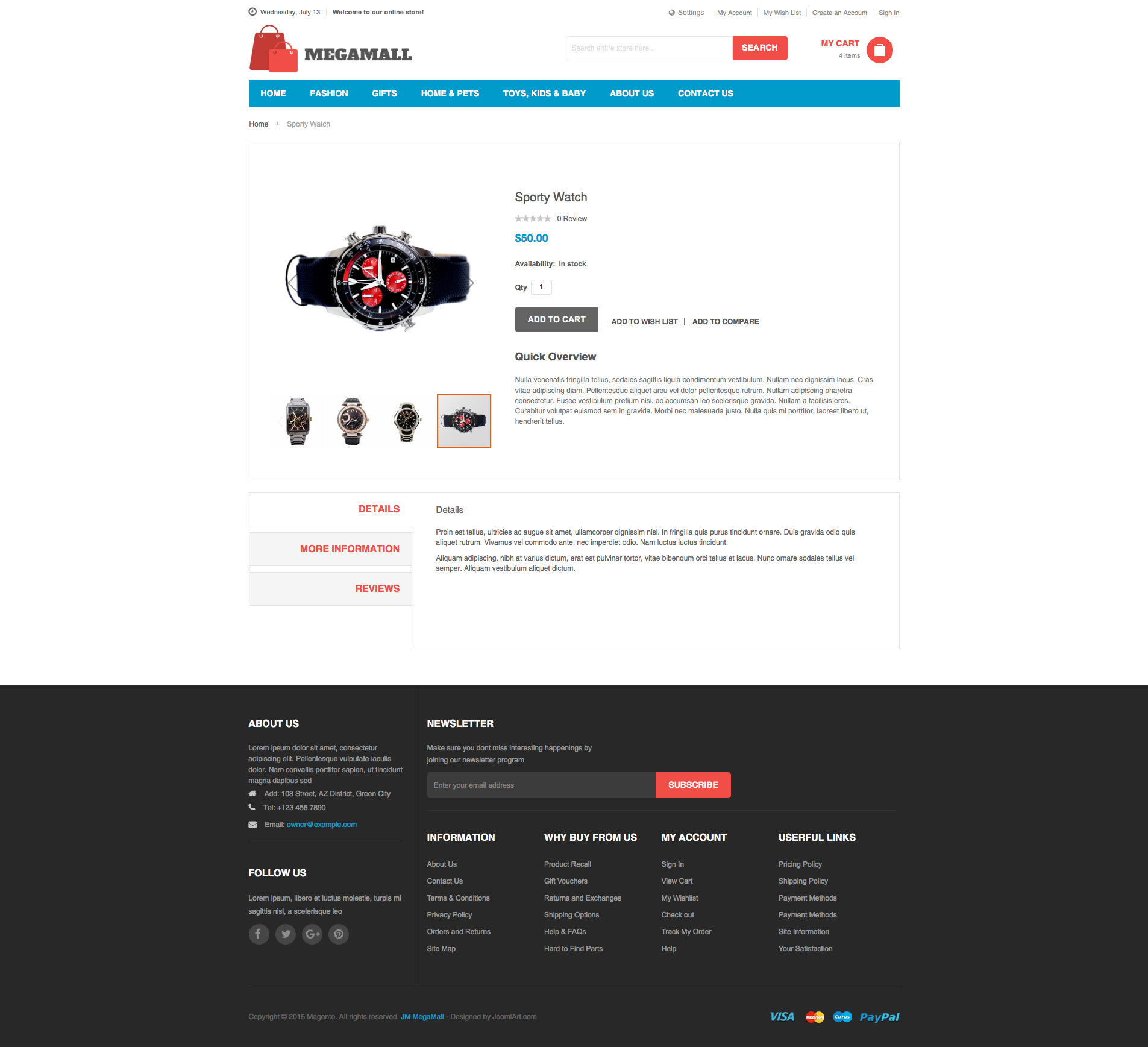 Magento 2 theme - UB MegaMall Detail page