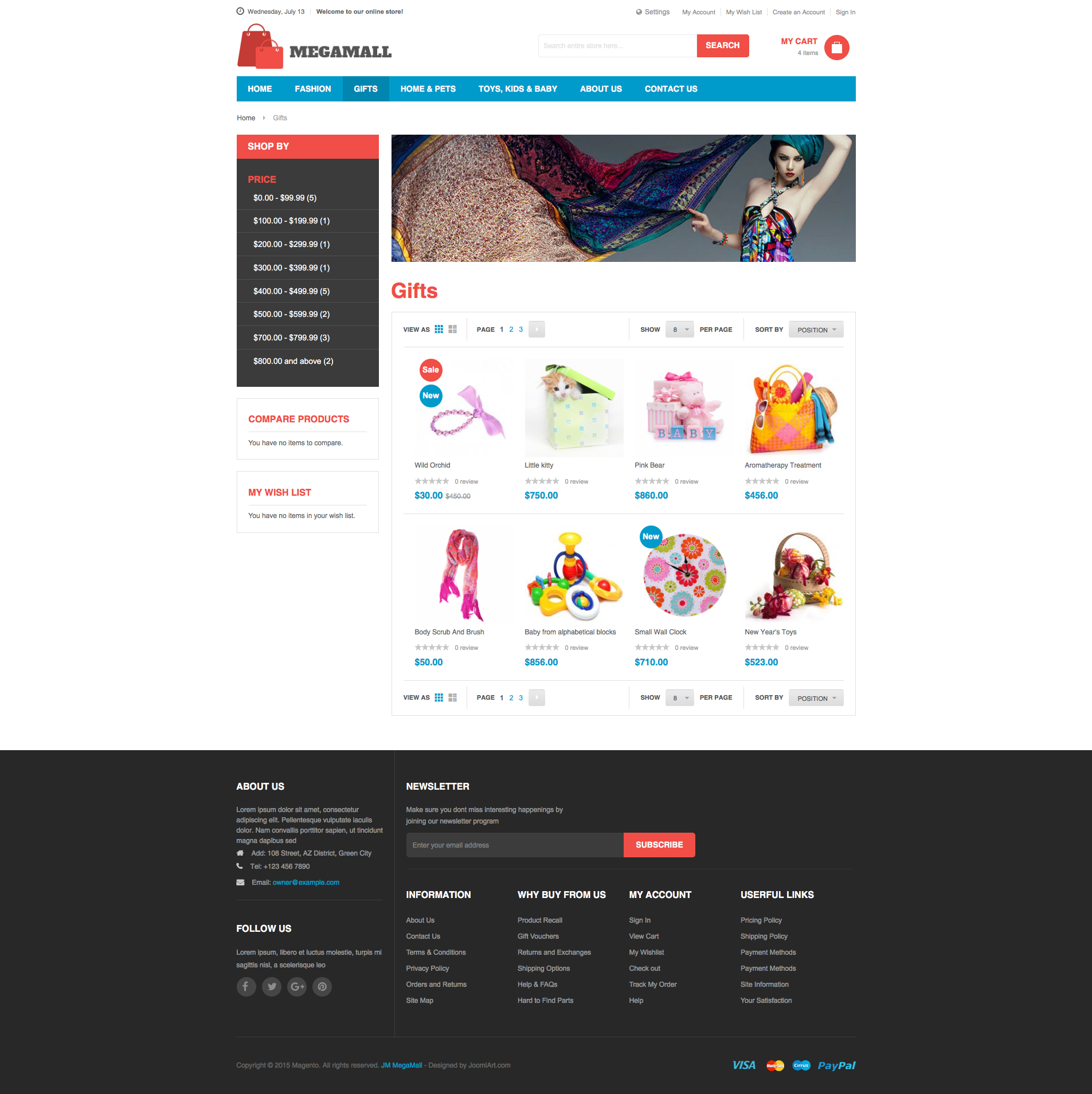 Magento 2 theme - UB MegaMall Category page - Grid view