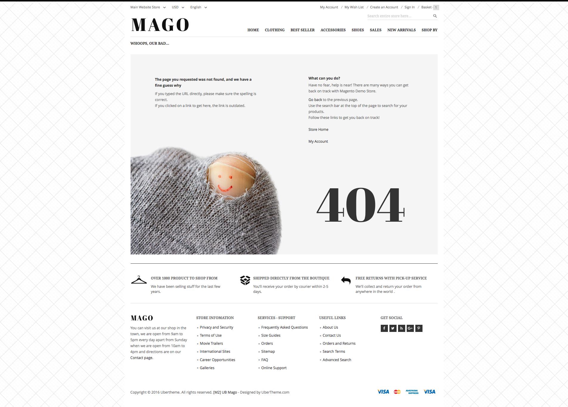 Magento 2 theme - UB Mago 404 page