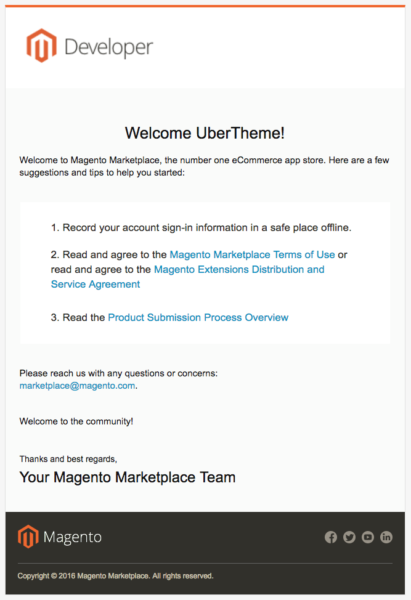 Welcome Email to Magento Marketplace