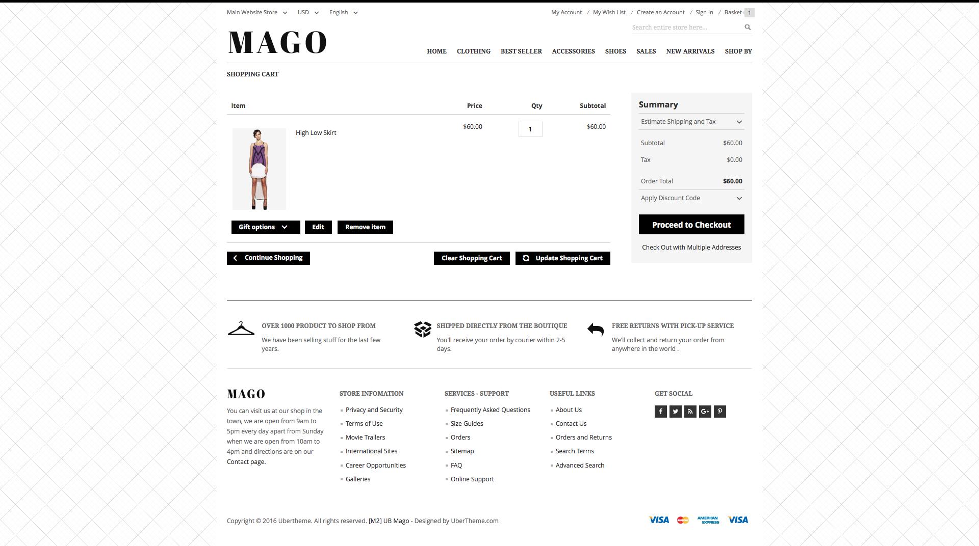Magento 2 theme - UB Mago checkout page