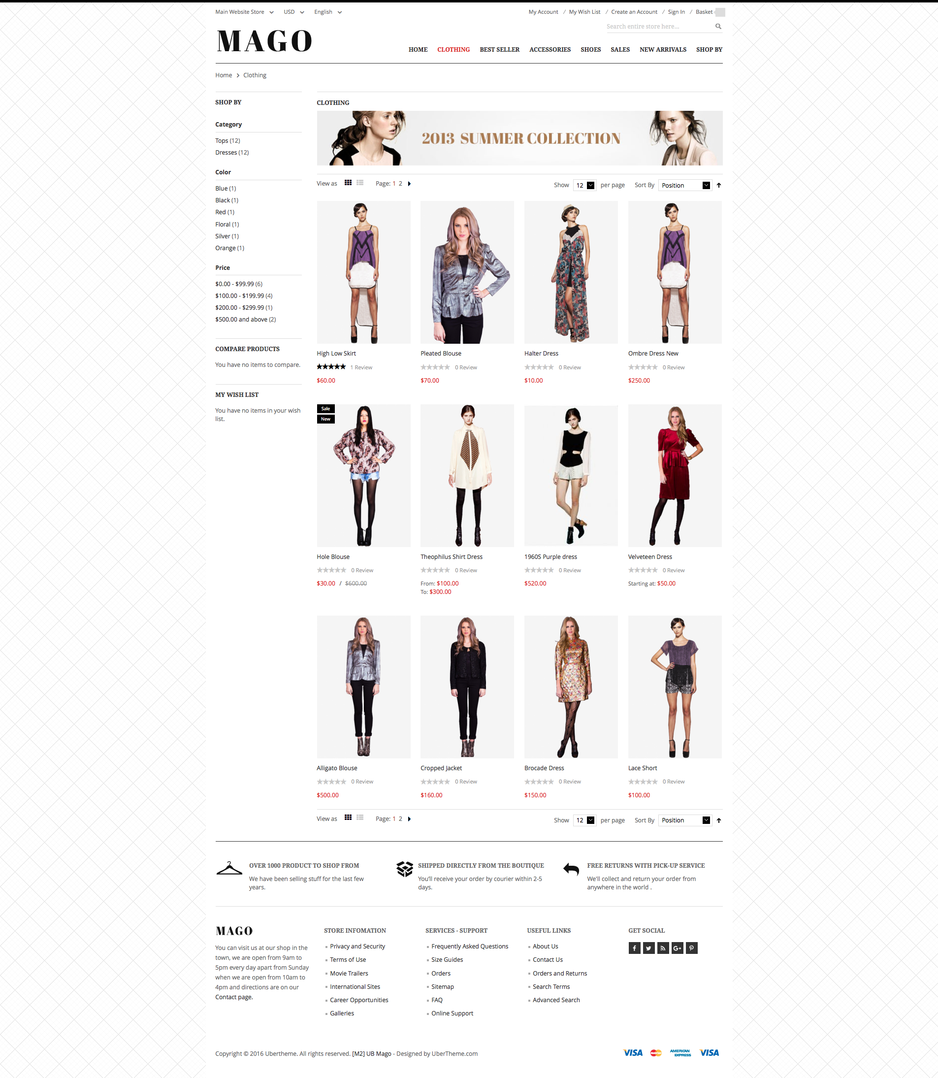 Magento 2 theme - UB Mago Category page
