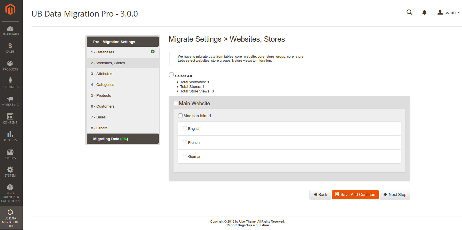 Step 2 - Migrate Website Store