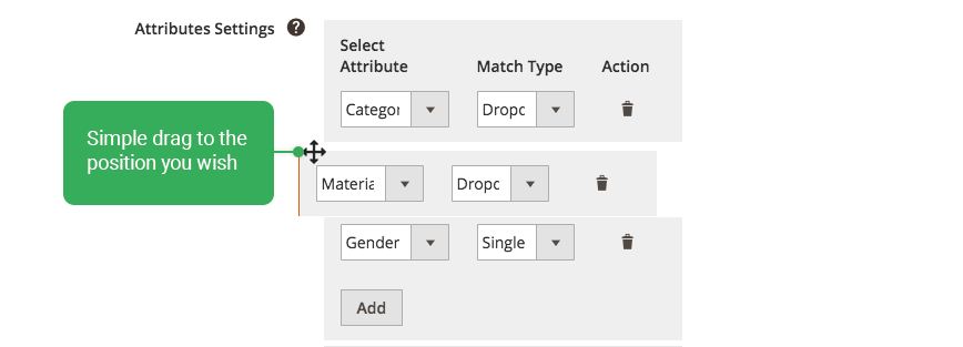 magento 2 layered navigation - drag and drop attribute
