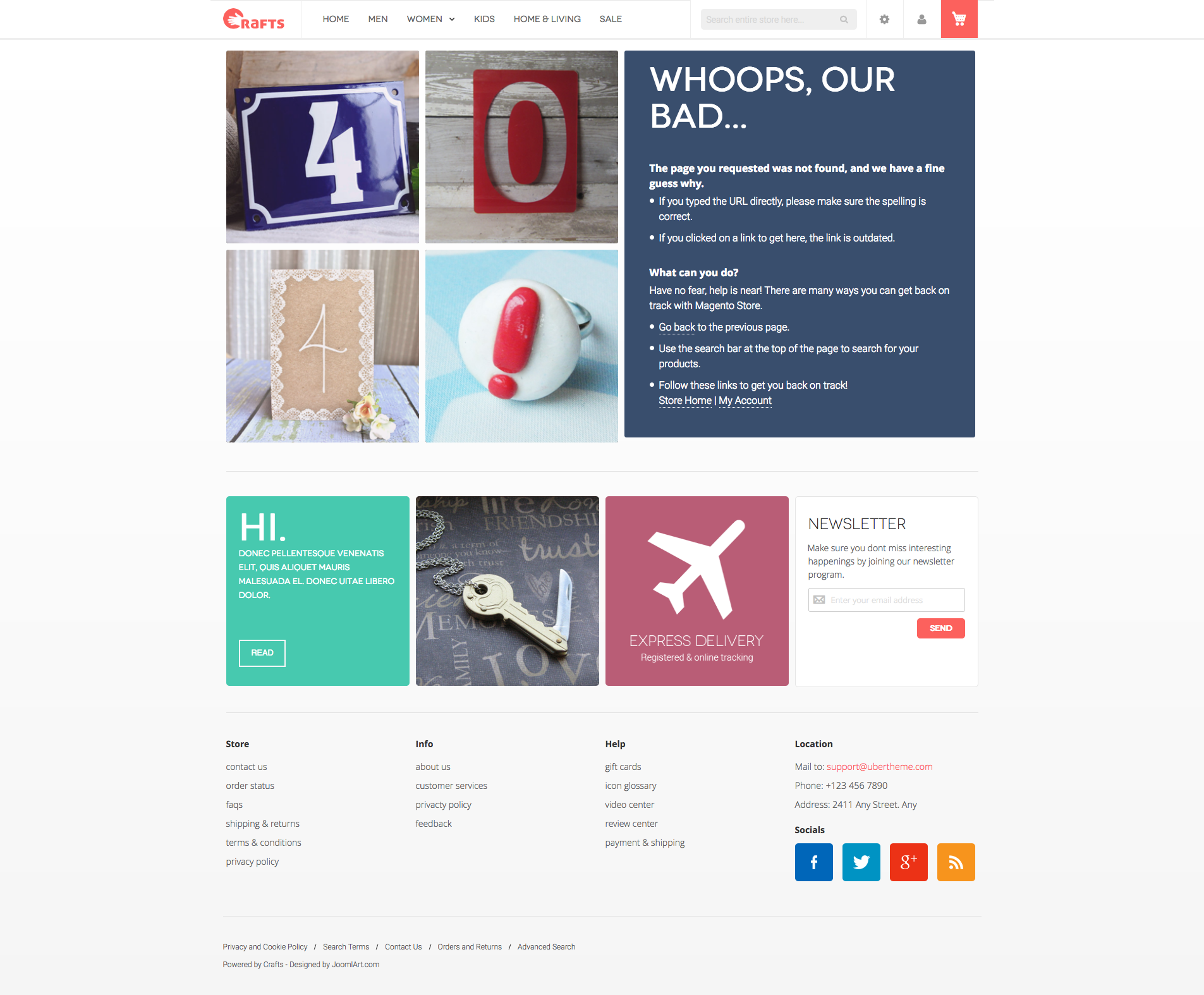 Crafts Theme 404 Page