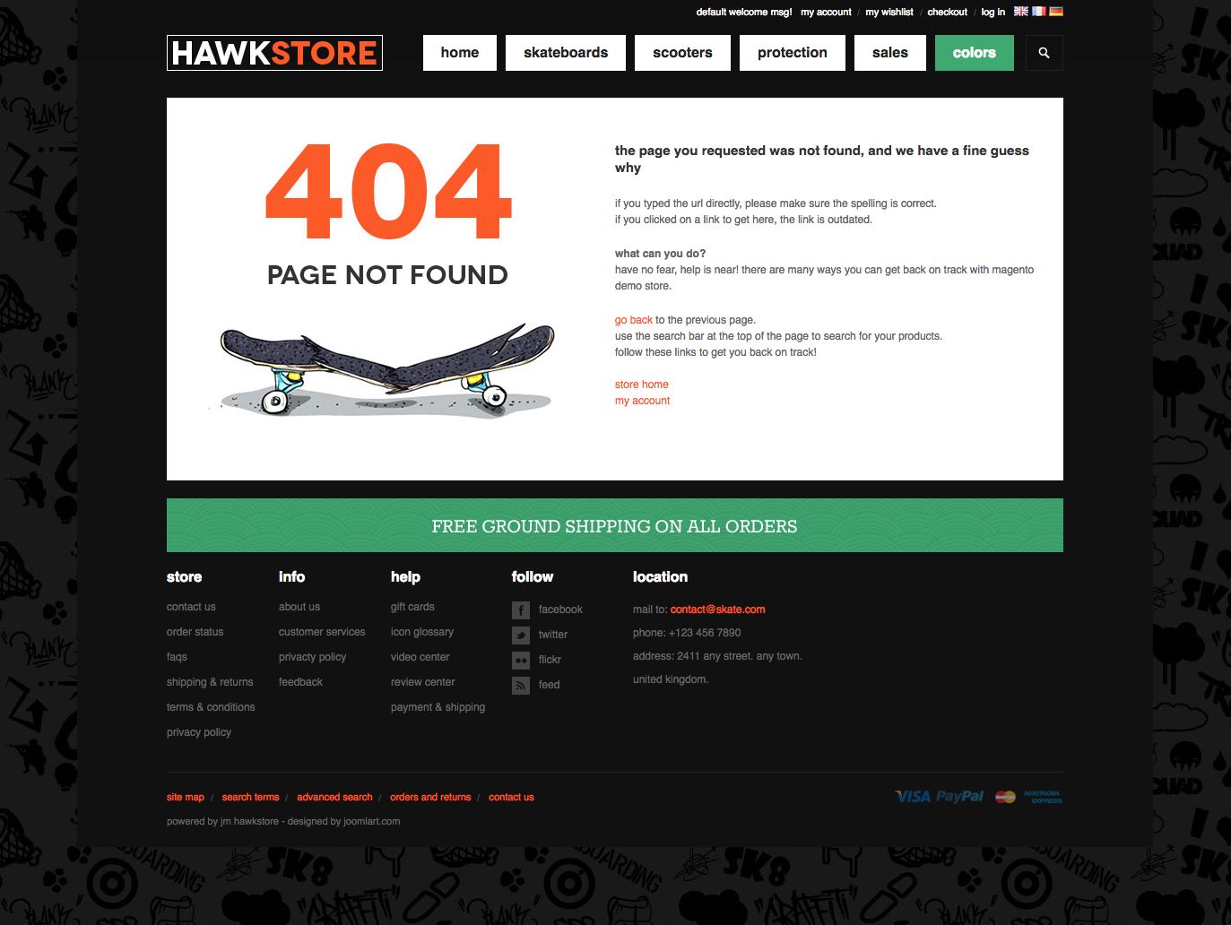 404 Page - Hawkstore Magento Theme