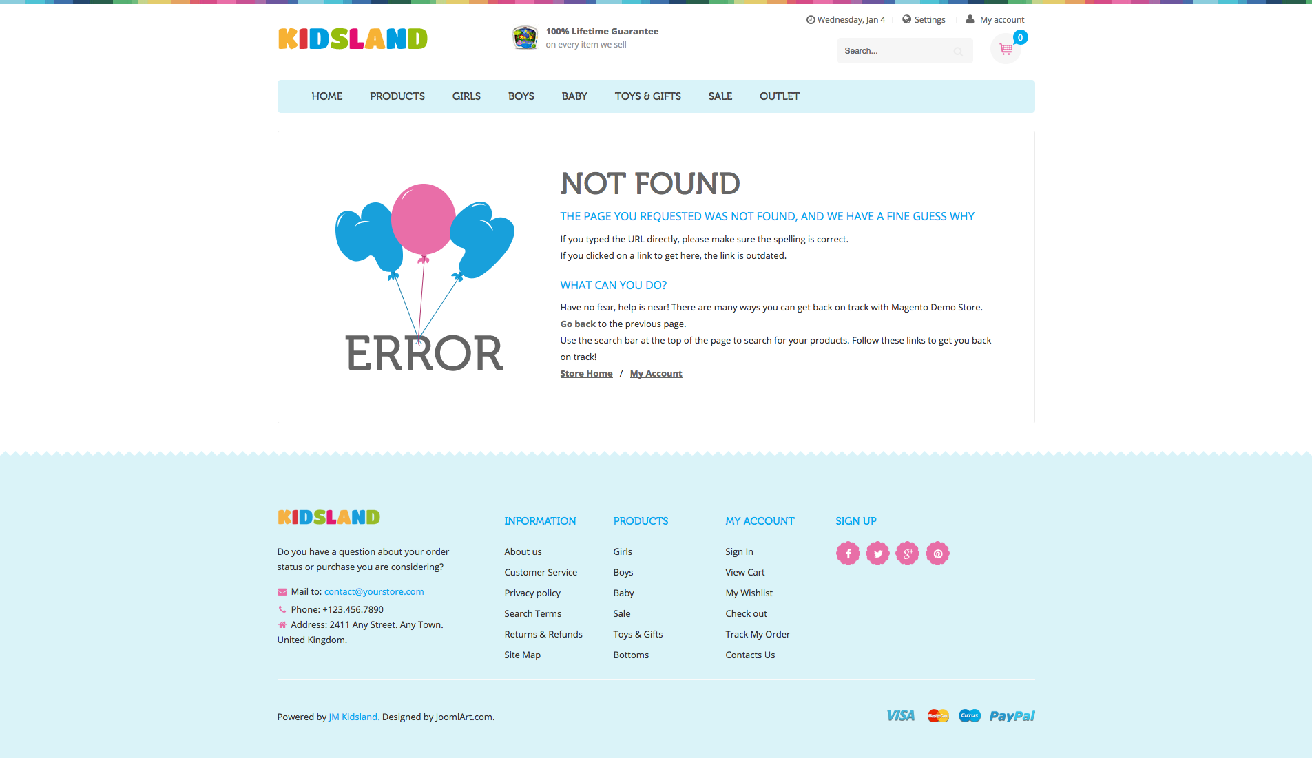 404 Page - UB Kidsland Magento 2 Theme