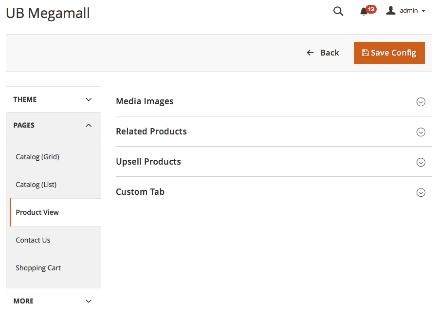 Magento 2 theme customization - UB Theme Helper Product View Settings