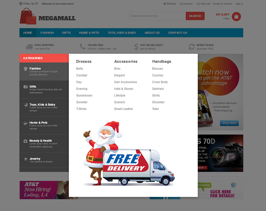 Magento 2 mega menu in UB Mega Mall theme
