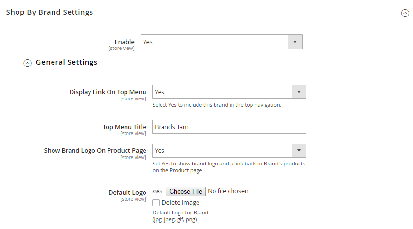 magento 2 layered navigation - shopbybrand_setting