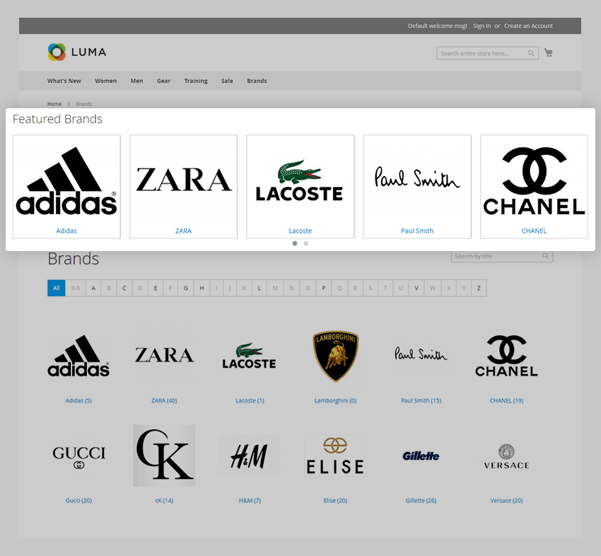 Showcase the most popular brands