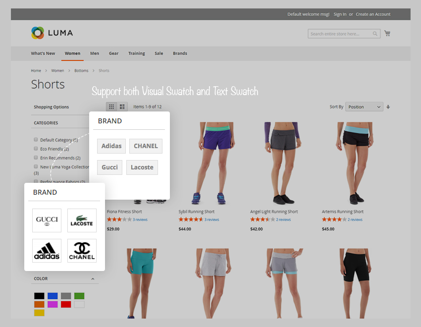 The combination of the layered navigation and Shop by Brand