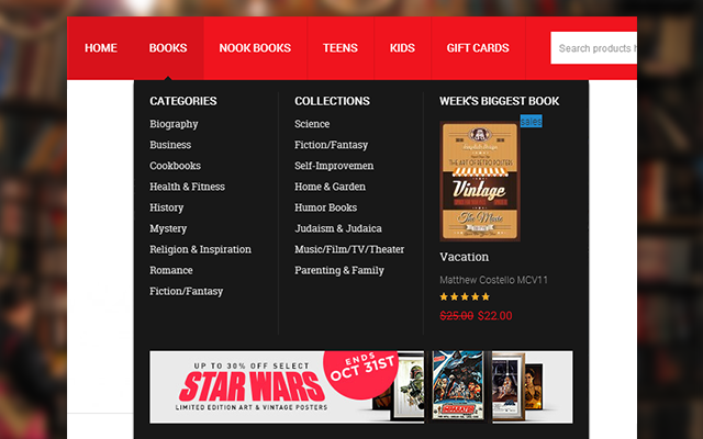 Bookshop menu for Magento store