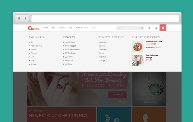 Crafts Magento menu
