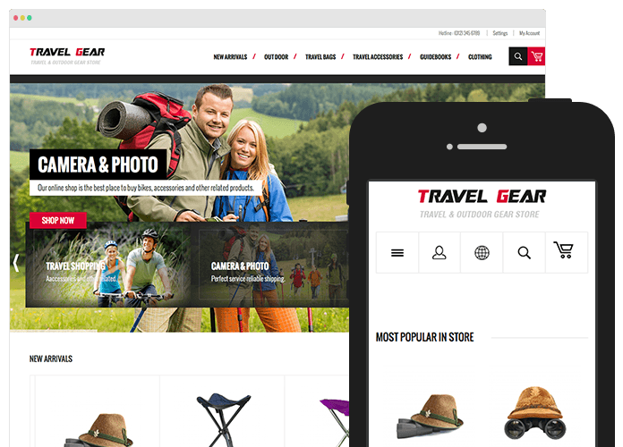 TravelGear menu for Magento store