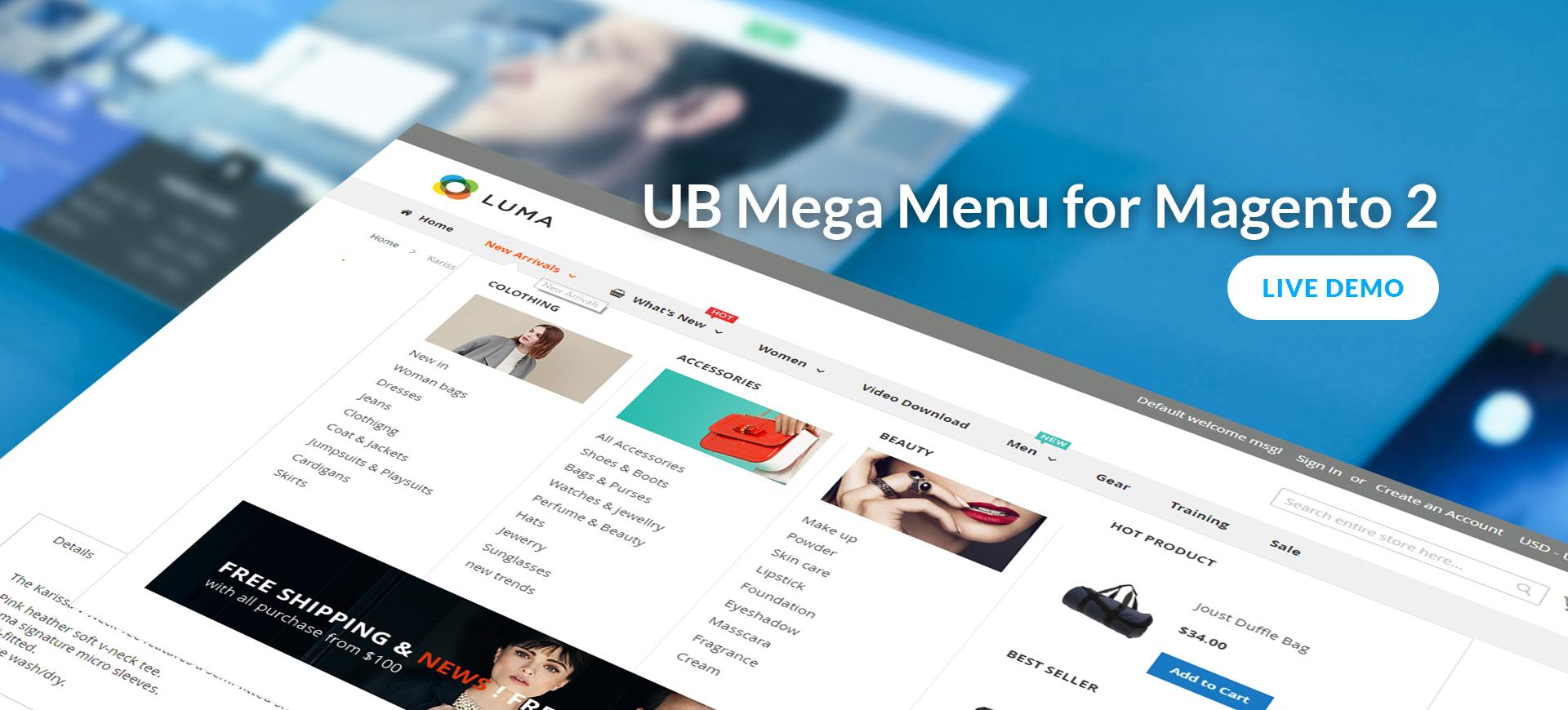UB Mega Menu - Handy drag and drop Mega Menu for Magento 2