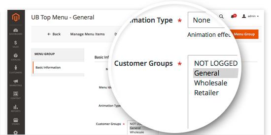 Magento 2 Mega Menu - Assign menu groups by Customer Groups