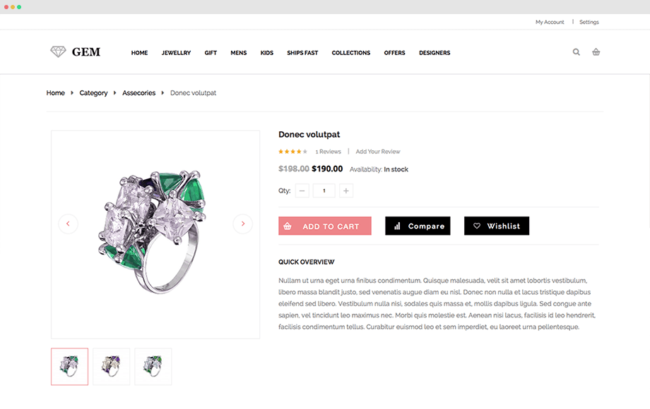 Gem - Responsive Magento Jewelry Theme | UberTheme