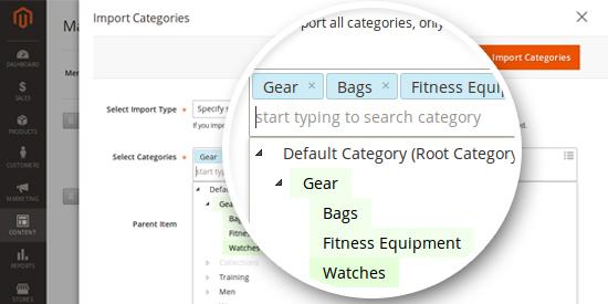 Magento 2 Mega Menu - Import Categories