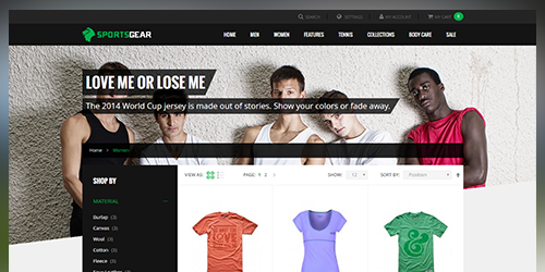 Responsive Magento theme UB SportsGear feature