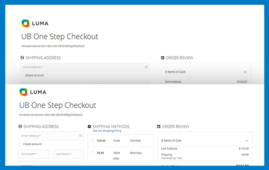 Magento 2 One Step Checkout - Multiple Layouts